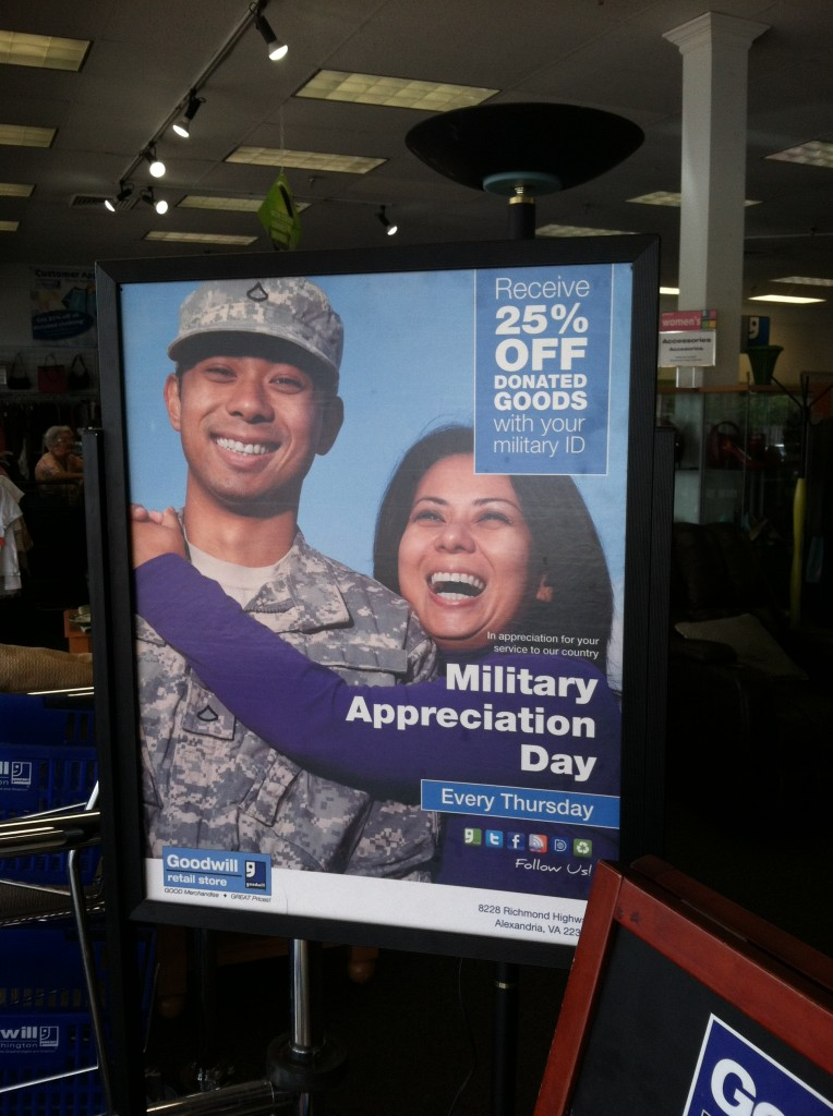 Thursdays are Military Appreciation Day at Goodwill Richmond Highway