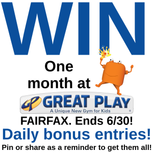 great play giveaway ends 6-/30. Daily Bonus Entries! Pin or share me to remind yourself!