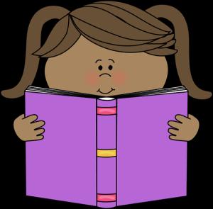book little girl reading clipart